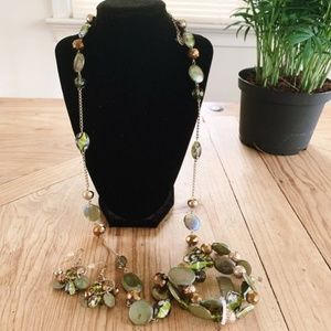 Erica Lyons || Gold Tone Green Beaded Jewelry Set